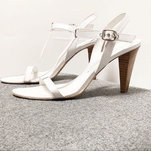 Marc Jacobs White Leather Sandal Ankle Heel  38